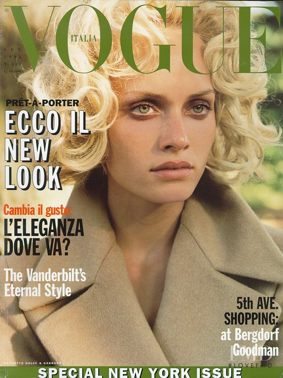 Amber Valletta featured on the Vogue Italy cover from September 1993