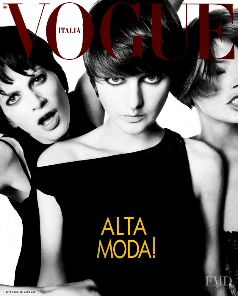 Kristen McMenamy, Linda Evangelista, Stella Tennant featured on the Vogue Italy cover from September 1993