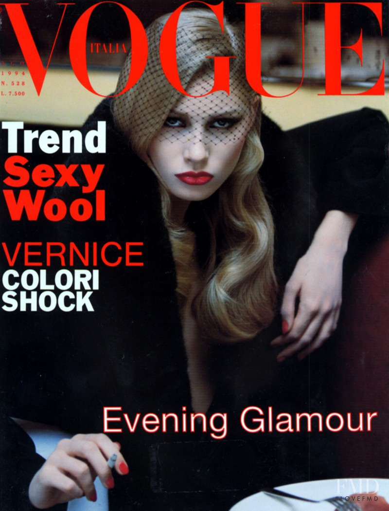 Kirsty Hume featured on the Vogue Italy cover from August 1994