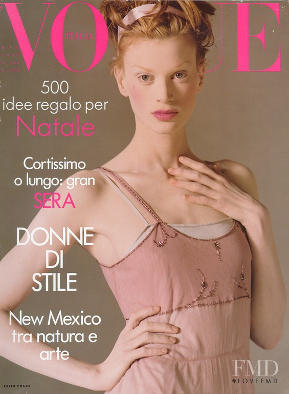 Kristen McMenamy featured on the Vogue Italy cover from December 1994