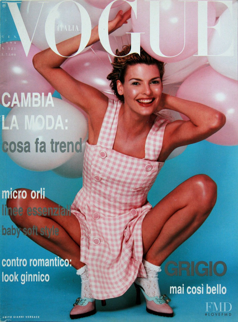 Linda Evangelista featured on the Vogue Italy cover from January 1994