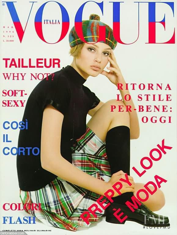 Bridget Hall featured on the Vogue Italy cover from March 1994