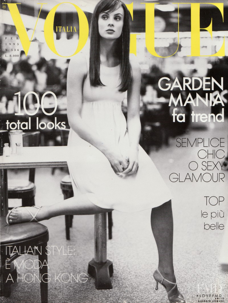 Michelle Behennah featured on the Vogue Italy cover from February 1995