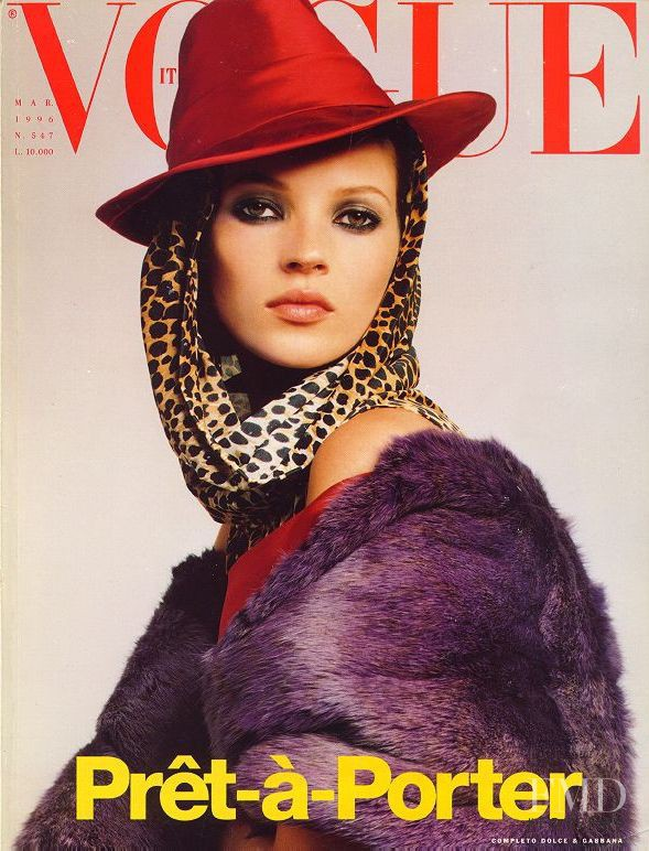 Kate Moss featured on the Vogue Italy cover from March 1996