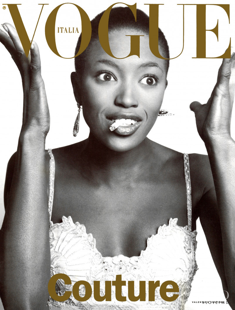 Naomi Campbell featured on the Vogue Italy cover from March 1996