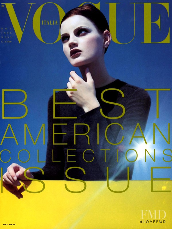 Guinevere van Seenus featured on the Vogue Italy cover from November 1996