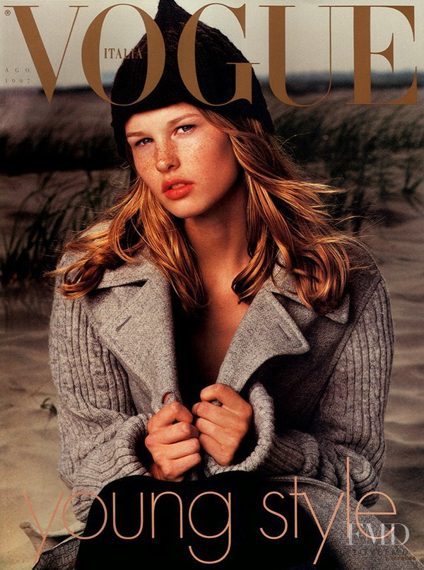 Amy Lemons featured on the Vogue Italy cover from August 1997