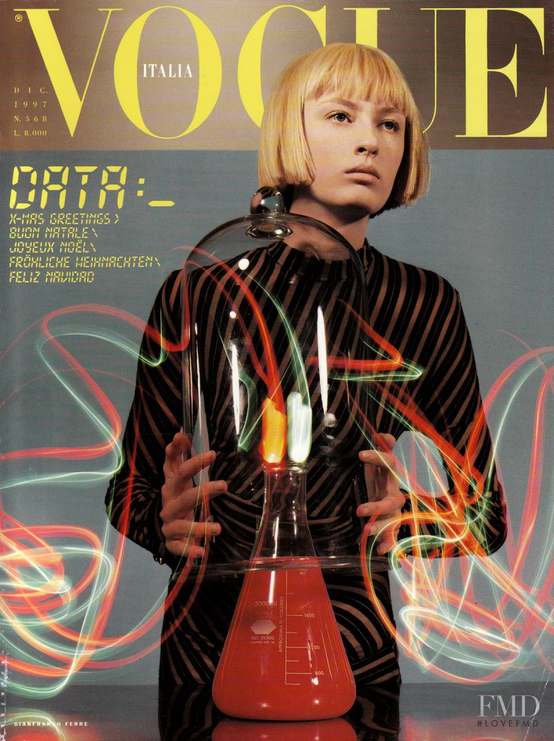 Nicole Anderson featured on the Vogue Italy cover from December 1997