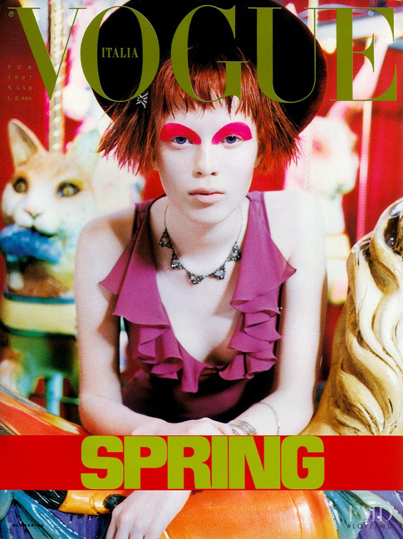 Karen Elson featured on the Vogue Italy cover from February 1997