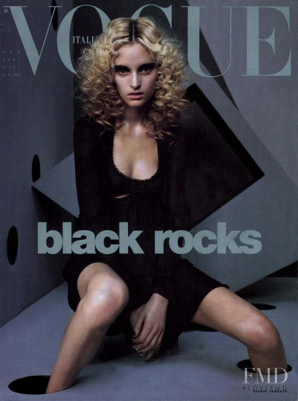 Amy Wesson featured on the Vogue Italy cover from January 1997