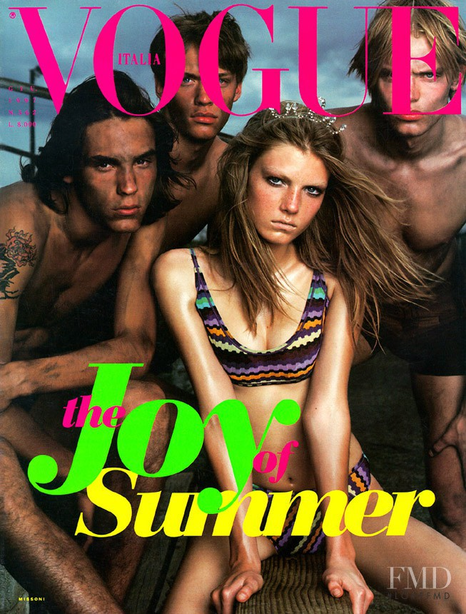 Angela Lindvall featured on the Vogue Italy cover from June 1997