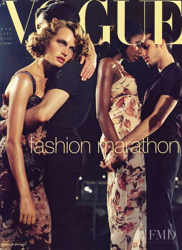 Amber Valletta, Naomi Campbell featured on the Vogue Italy cover from March 1997