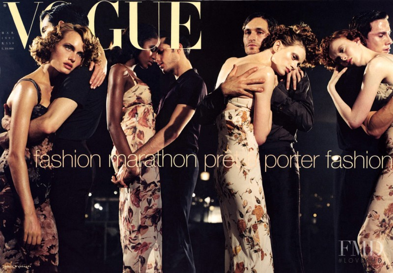 Amber Valletta, Karen Elson, Kristen McMenamy, Naomi Campbell featured on the Vogue Italy cover from March 1997