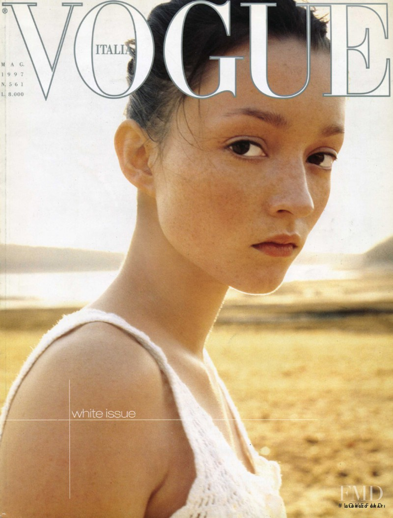 Audrey Marnay featured on the Vogue Italy cover from May 1997