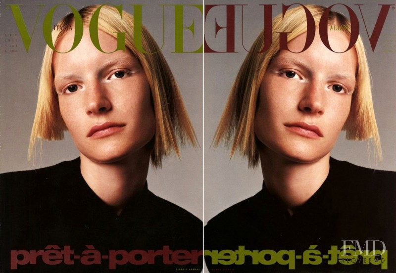 Kirsten Owen featured on the Vogue Italy cover from September 1997
