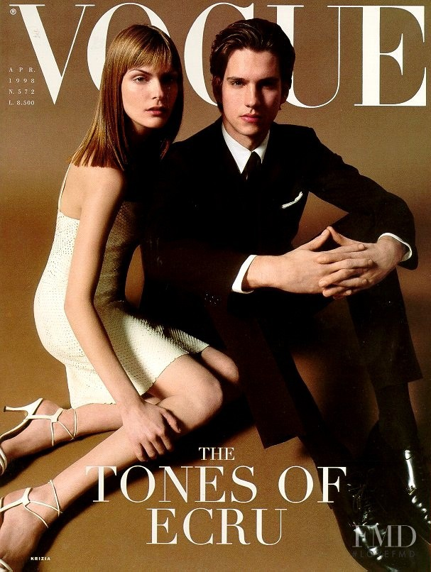Heather Stohler featured on the Vogue Italy cover from April 1998
