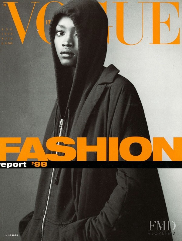 Oluchi Onweagba featured on the Vogue Italy cover from August 1998
