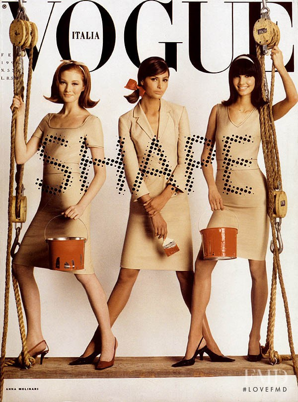 Elsa Benitez, Eugenia Silva, Maggie Rizer featured on the Vogue Italy cover from February 1998