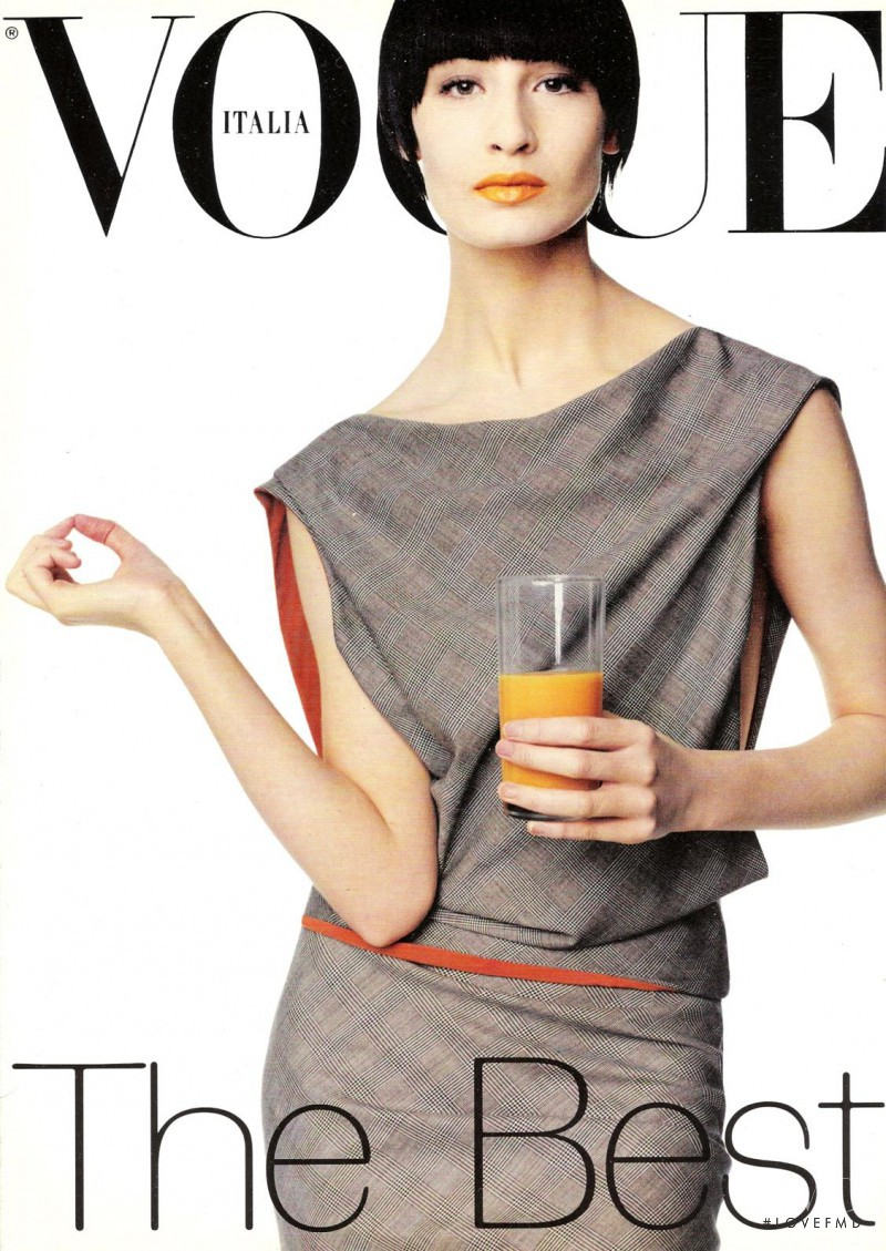 Erin O Connor featured on the Vogue Italy cover from January 1998