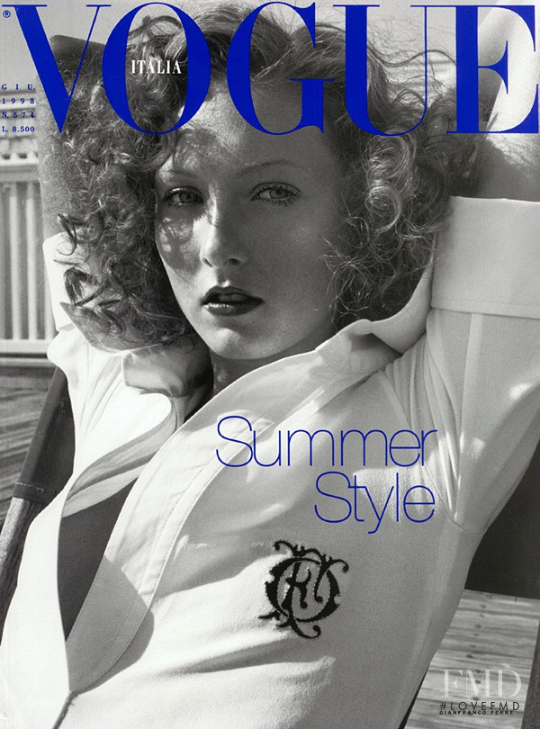 Maggie Rizer featured on the Vogue Italy cover from June 1998