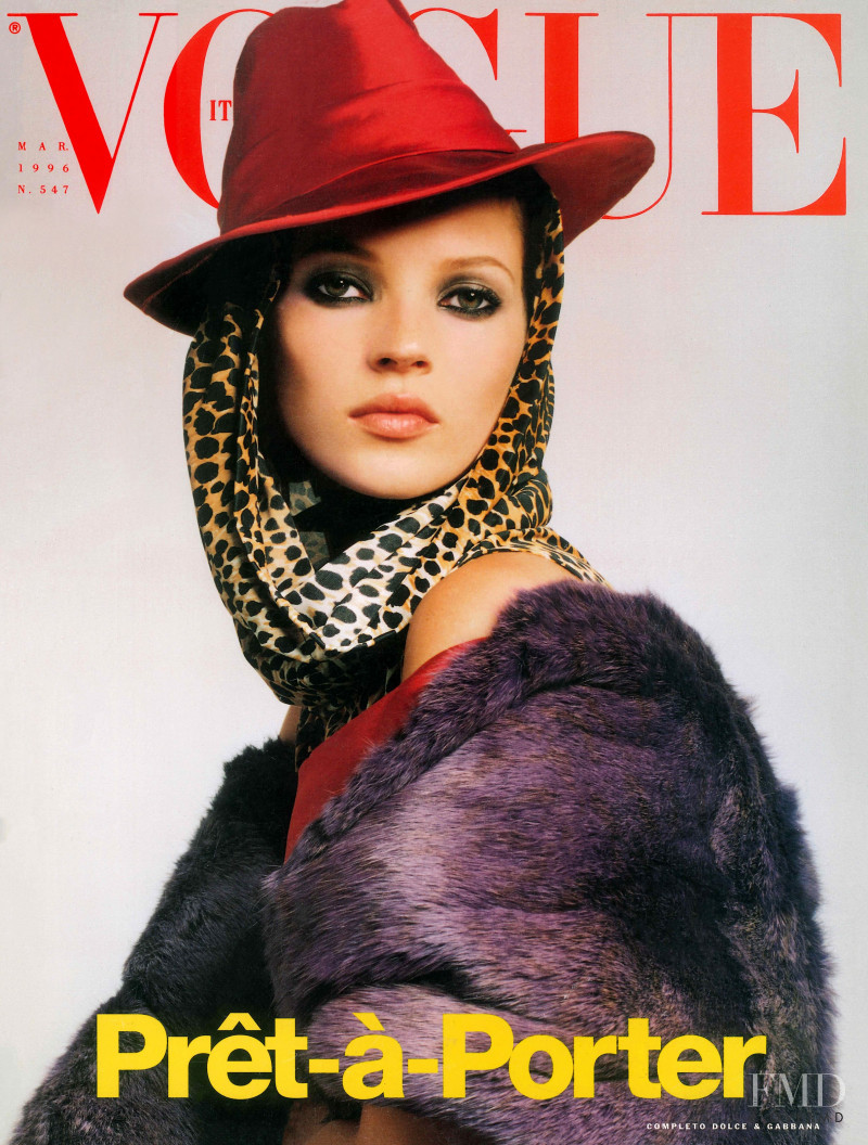 Kate Moss featured on the Vogue Italy cover from March 1998