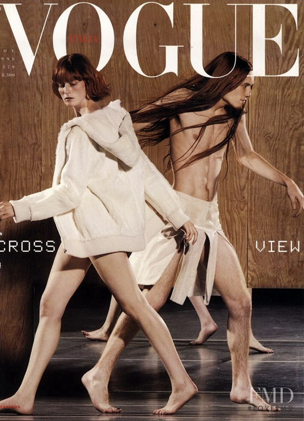Emily Sandberg featured on the Vogue Italy cover from November 1998