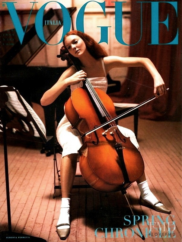Sunniva Stordahl featured on the Vogue Italy cover from April 1999