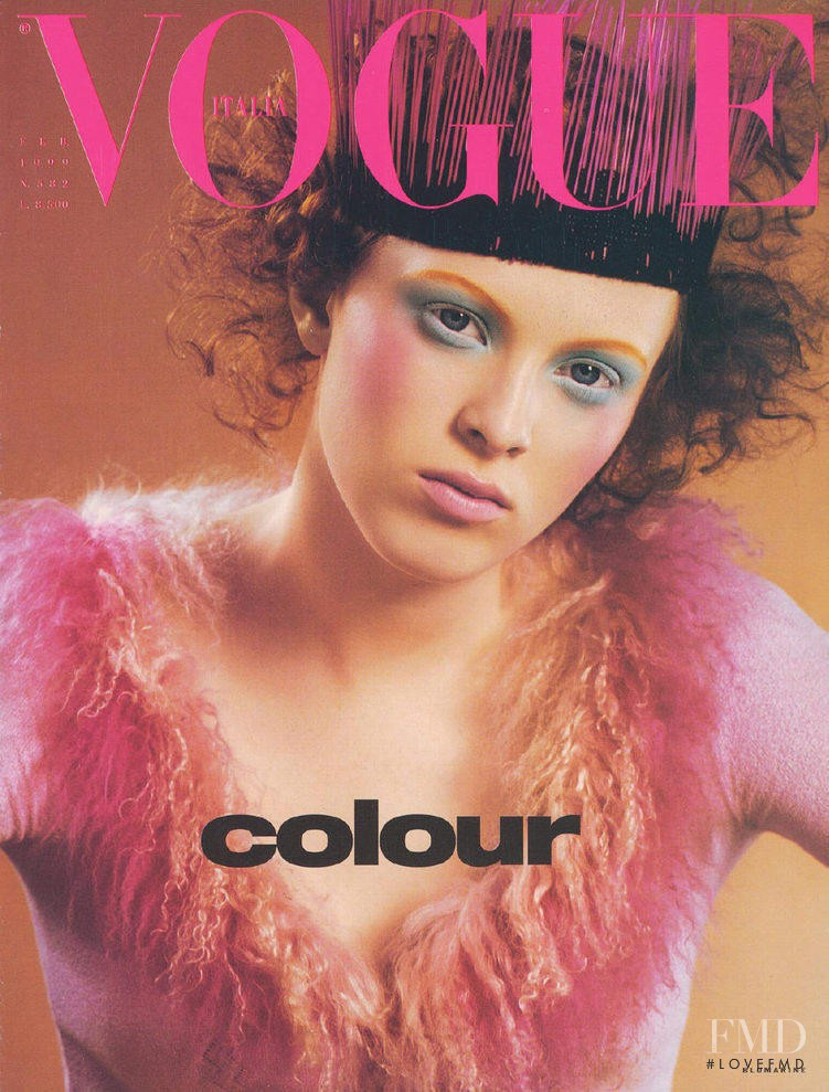 Karen Elson featured on the Vogue Italy cover from February 1999