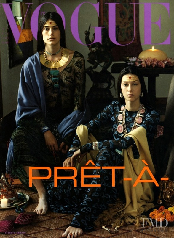Mary Anne Fletcher featured on the Vogue Italy cover from September 1999