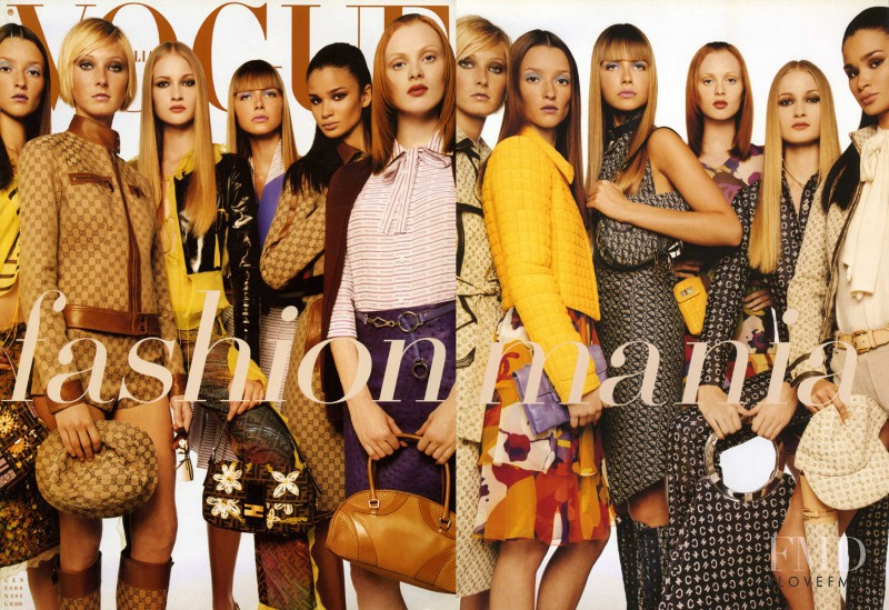 Audrey Marnay, Danita Angell, Karen Elson, Ana Claudia Michels, Maggie Rizer, Caroline Ribeiro featured on the Vogue Italy cover from January 2000
