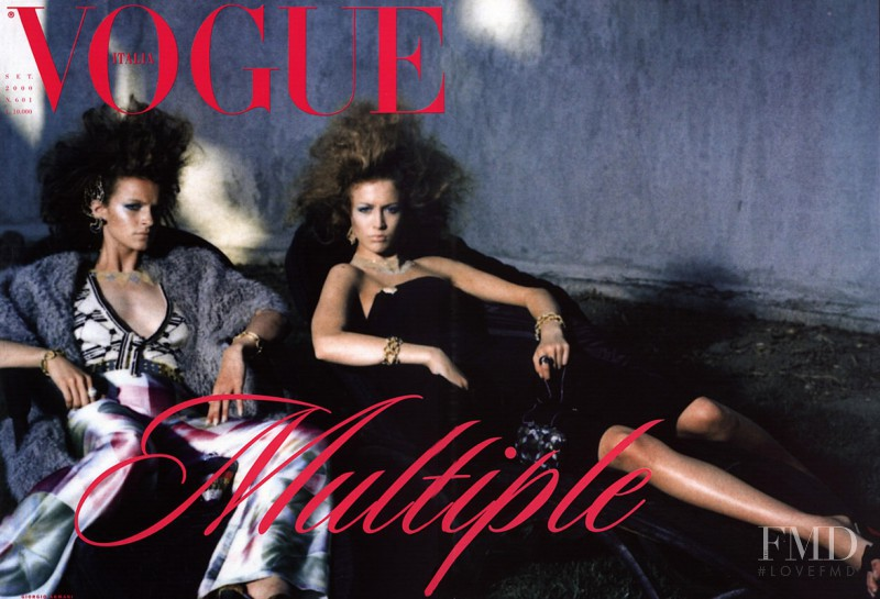 Raquel Zimmermann, Anouck Lepère featured on the Vogue Italy cover from September 2000