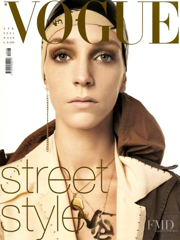 Hannelore Knuts featured on the Vogue Italy cover from April 2001