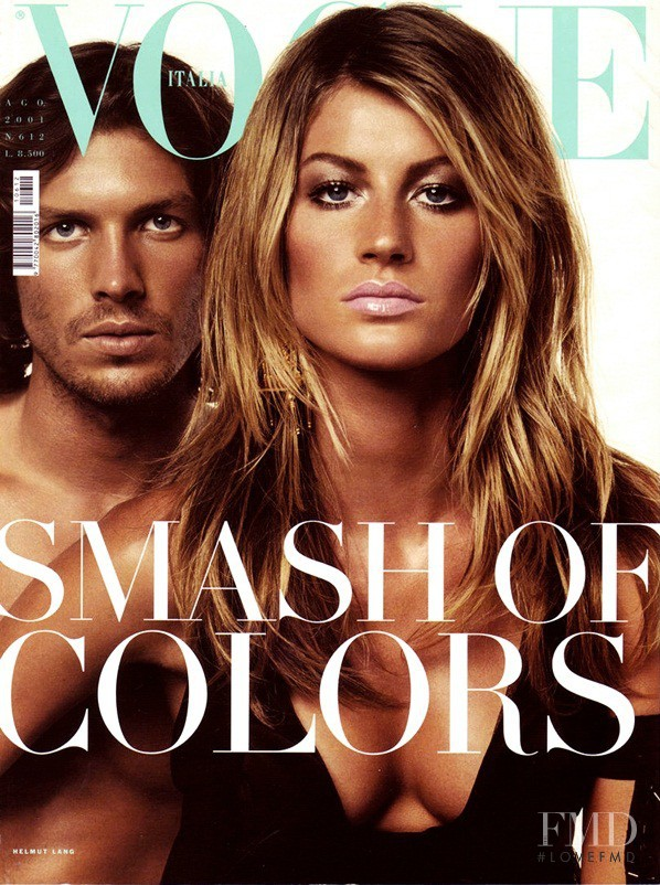 Gisele Bundchen featured on the Vogue Italy cover from August 2001