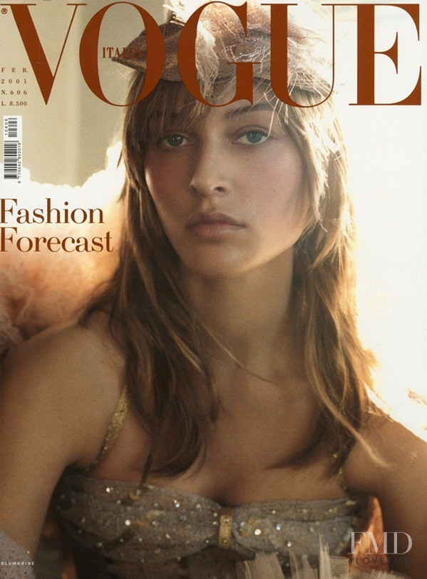 Liisa Winkler featured on the Vogue Italy cover from February 2001