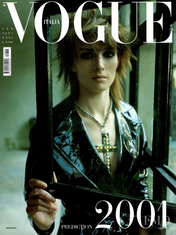 Kim Peers featured on the Vogue Italy cover from January 2001