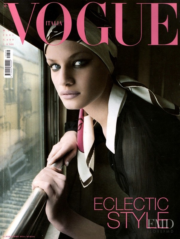 Vicky Andren featured on the Vogue Italy cover from May 2001