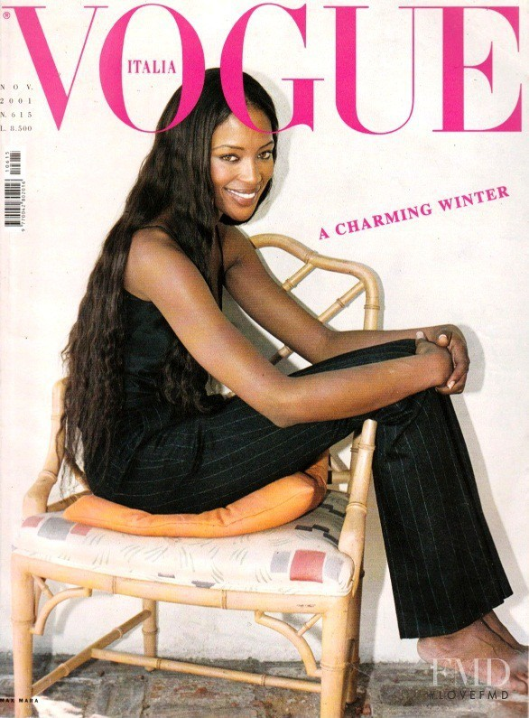 Naomi Campbell featured on the Vogue Italy cover from November 2001