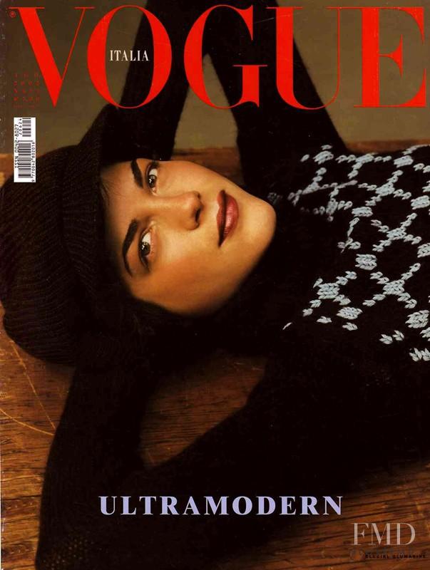 Selma Blair  featured on the Vogue Italy cover from August 2002