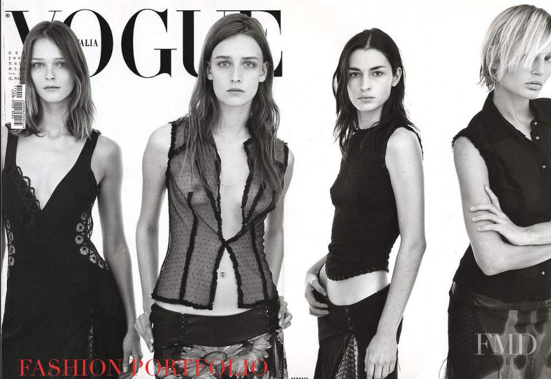 Bridget Hall, Carmen Kass, Ann-Catherine Lacroix, Amanda Moore featured on the Vogue Italy cover from January 2002