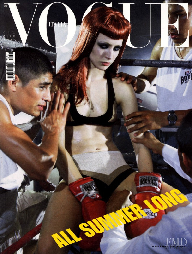 Raquel Zimmermann featured on the Vogue Italy cover from June 2002