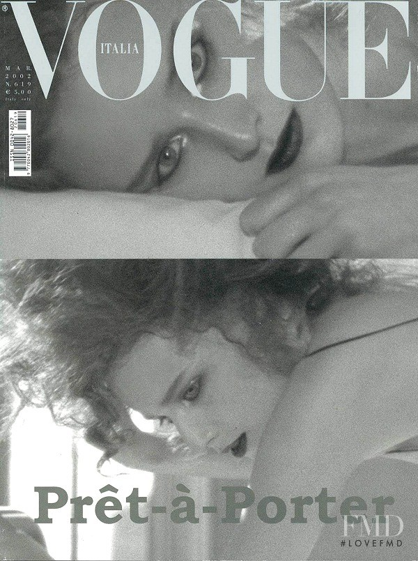 Ann-Catherine Lacroix featured on the Vogue Italy cover from March 2002