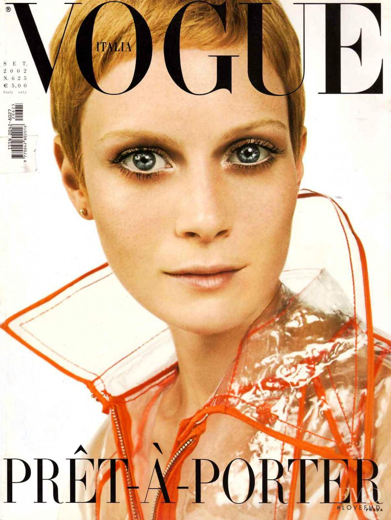 Emily Sandberg featured on the Vogue Italy cover from September 2002