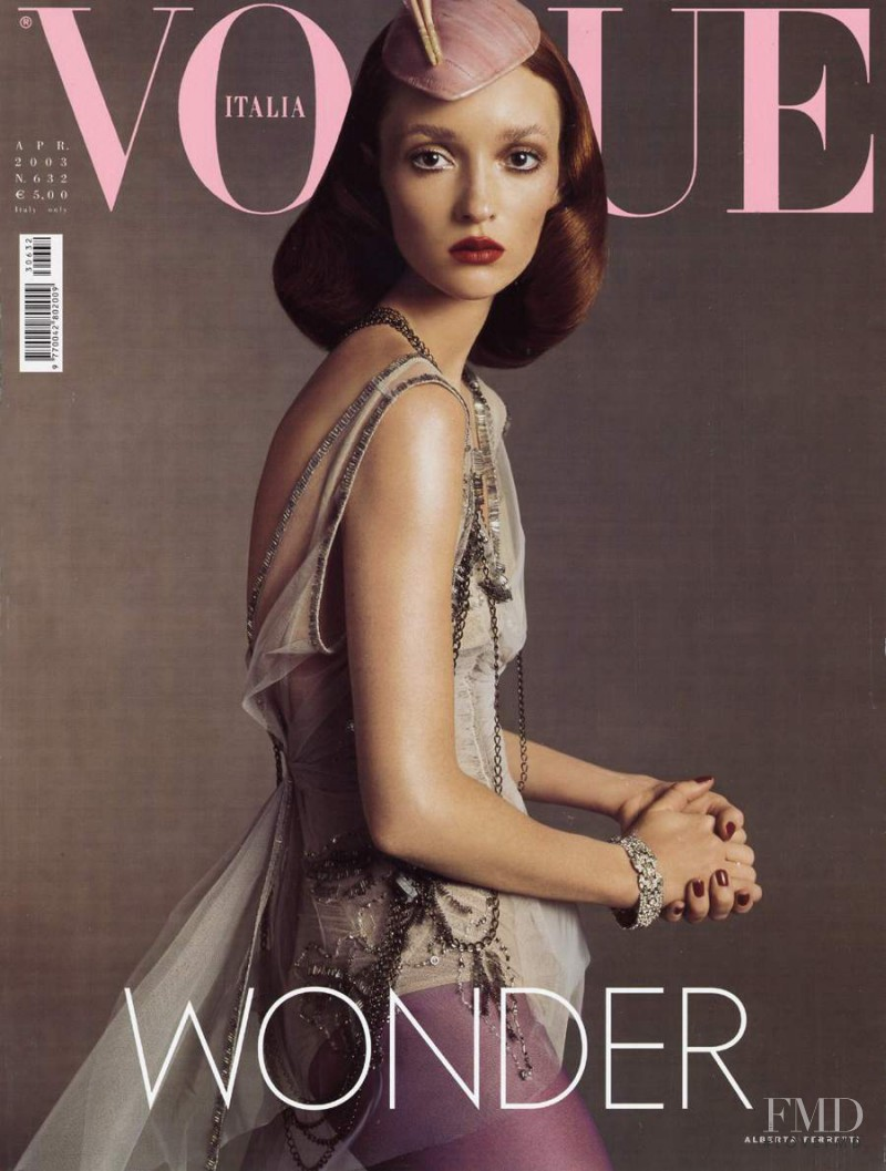 Audrey Marnay featured on the Vogue Italy cover from April 2003