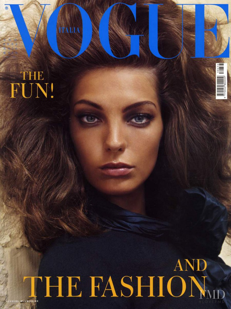 Daria Werbowy featured on the Vogue Italy cover from August 2003