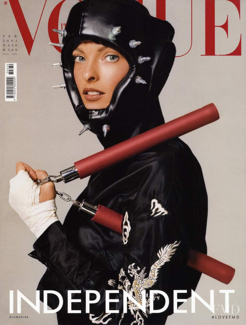 Linda Evangelista featured on the Vogue Italy cover from February 2003
