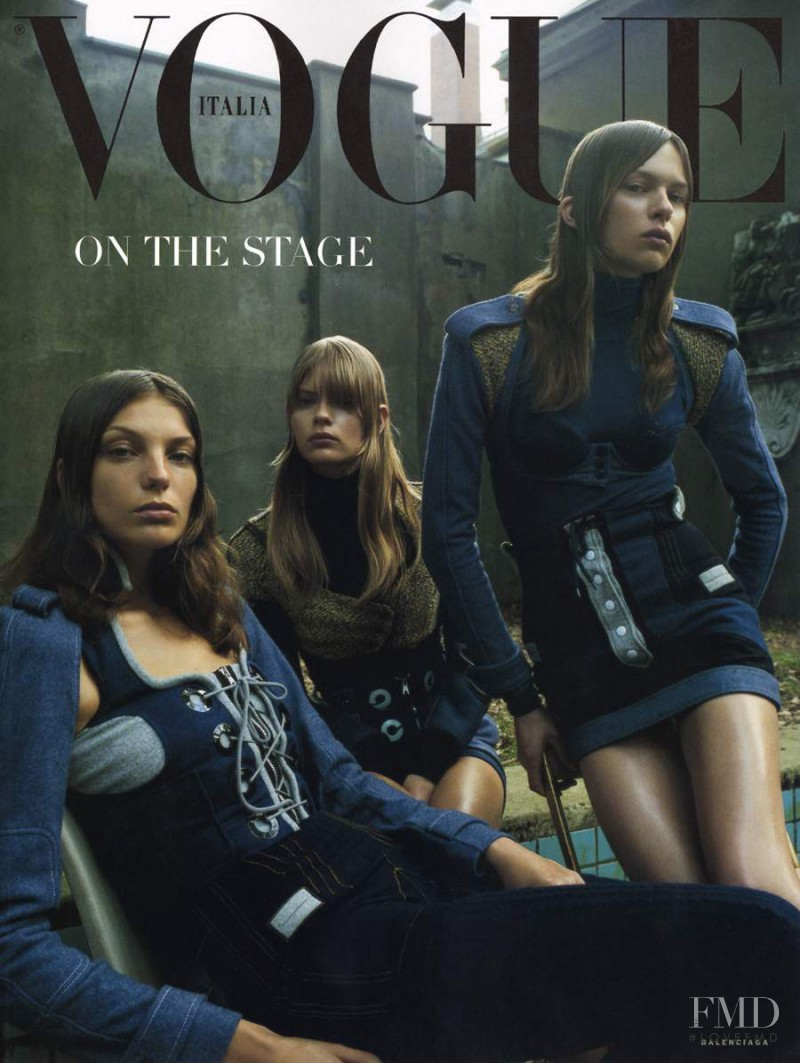 Daria Werbowy, Julia Stegner featured on the Vogue Italy cover from July 2003