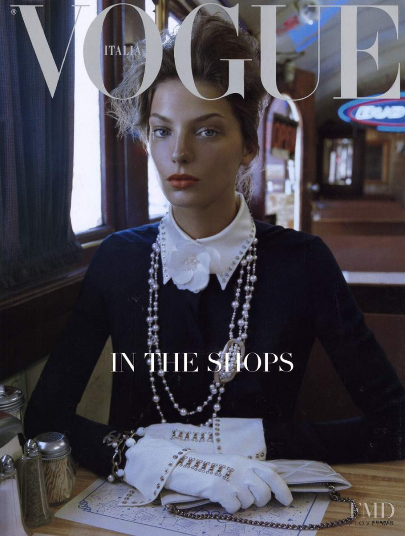 Daria Werbowy featured on the Vogue Italy cover from July 2003