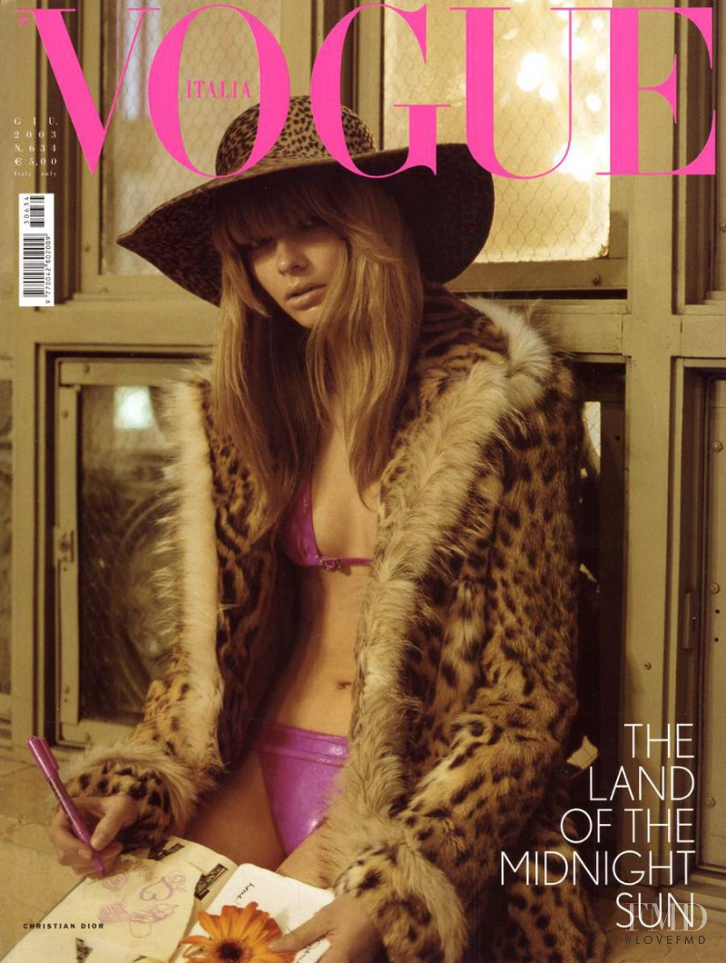 Julia Stegner featured on the Vogue Italy cover from June 2003