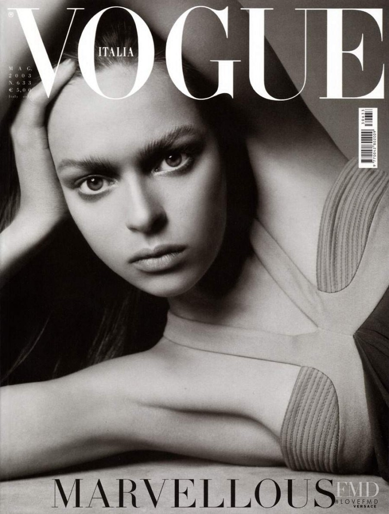 Elise Crombez featured on the Vogue Italy cover from May 2003
