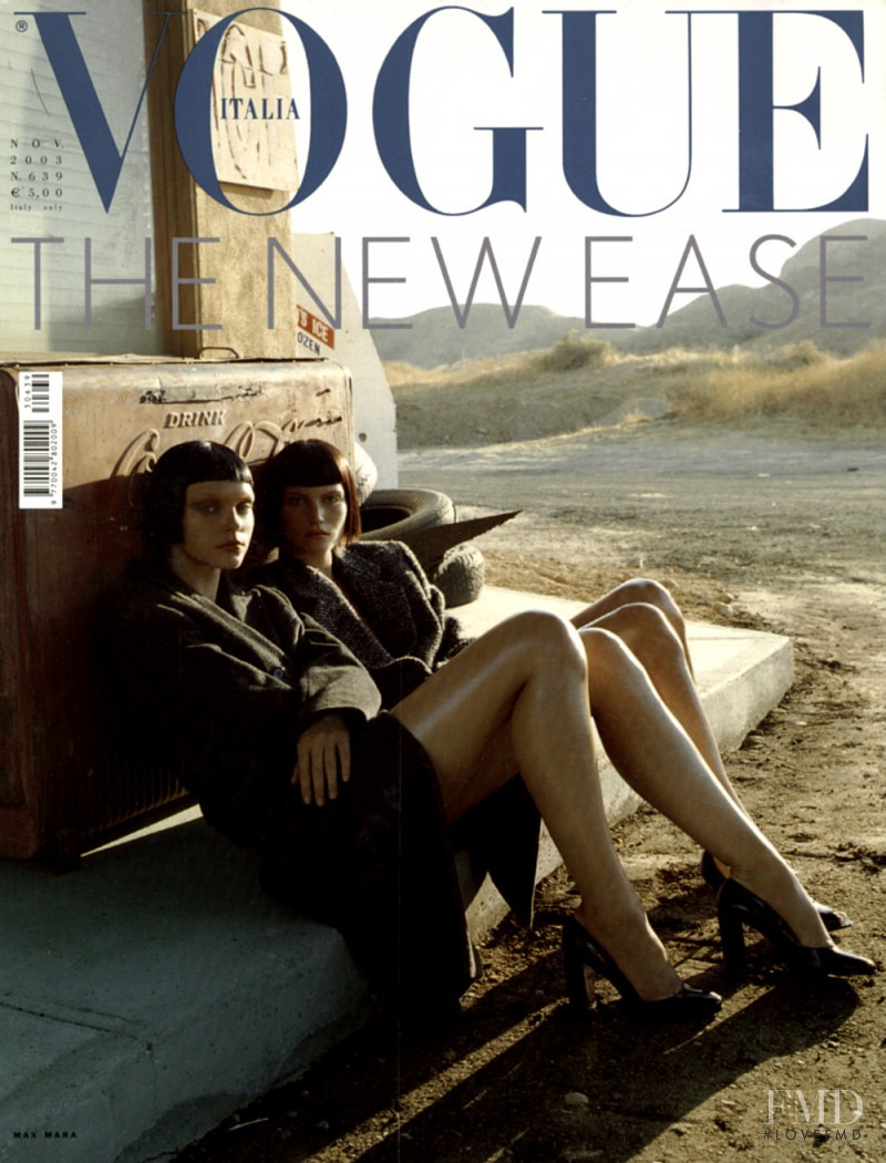 Missy Rayder, Jessica Stam featured on the Vogue Italy cover from November 2003